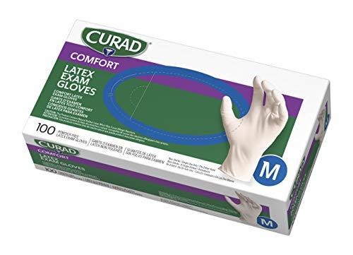 Cure - Gant d'examen en latex, sans poudre, moyen, 100/BX, blanc, vendu comme 1....