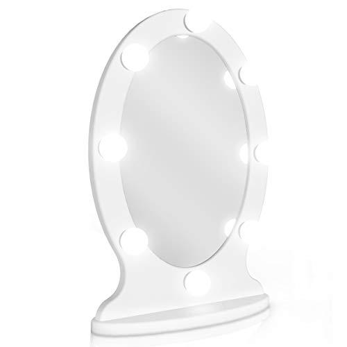 Miroir ovale Star Vision avec lumières de style hollywoodien : Ovale....