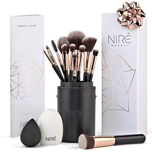 Set Artistry de Niré : pinceaux de maquillage végétalien avec une boîte de...
